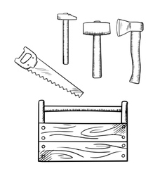 Sketches of toolbox and carpentry tools vector