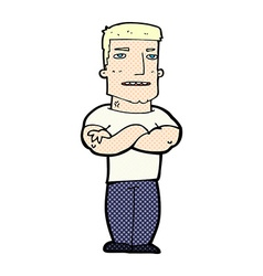 Comic cartoon tough guy with folded arms vector