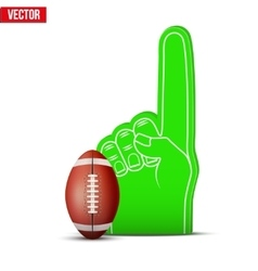 American football sports fan foam fingers and ball vector
