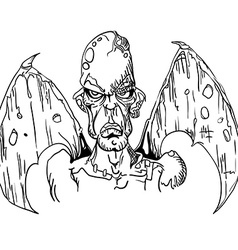 Black and white evil demon with wings vector