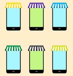 Mobile store set vector