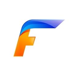 F letter blue and orange logo design fast speed vector