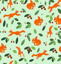 The pattern of squirrels jump sit on a green vector image