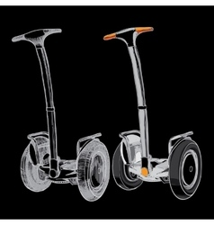 Set hand drawn segwaytwo-wheeled motorized vector