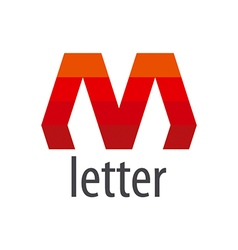 Abstract logo red letter m vector