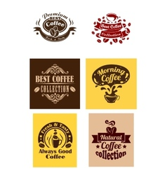 Best coffee logos and banners vector image vector image