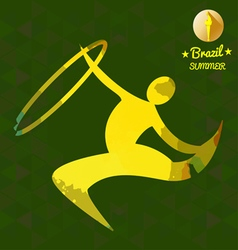 Brazil summer sport card with an yellow abstract r vector