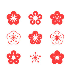 Cherry blossom icon set vector