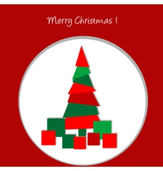 Christmas card with abstract Christmas tree and vector image vector image