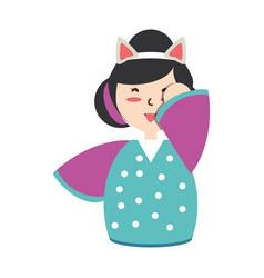 cute woman japanese cartoon vector image