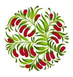 Decorative ornament red berries vector