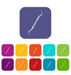 Dental instrument probe icons set flat vector