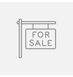 For sale placard line icon vector image vector image
