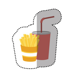 fries french and soda icon vector image vector image