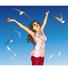 Girl Enjoying Life vector image vector image