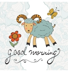 Good morning cute card with smiling goat vector