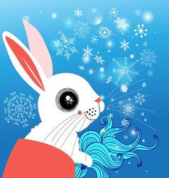 graphic funny rabbit winter on a blue background vector image vector image