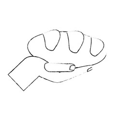 Hand with bread religion catholic symbol sketch vector