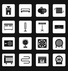 Heating cooling air icons set squares vector