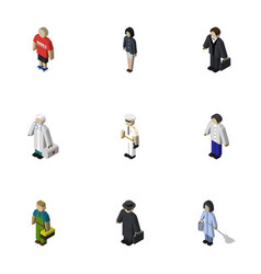 Isometric person set of investor girl plumber vector