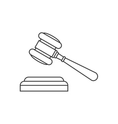 Judge gavel line icon vector image