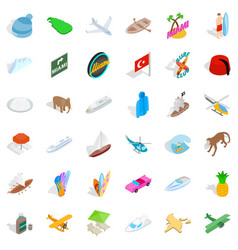 knowledge icons set isometric style vector image