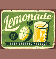 Lemonade vintage tin sign vector