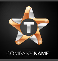 Letter t logo symbol in the colorful star on black vector