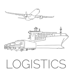 Logistics sign with plane trucks and container vector image vector image