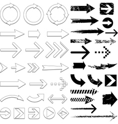 lots of black arrows set vector image