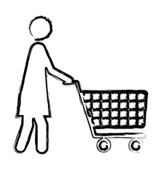 Monochrome blurred silhouette of pictogram woman vector