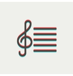 Musical Note thin line icon vector image vector image