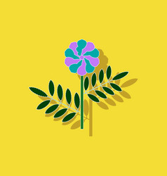 Paper sticker on background of plant tagetes vector