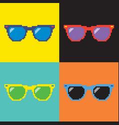 Pixel sunglasses pop art background vector