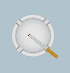 Realistic white ashtray with lit cigarette vector