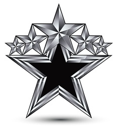 Royal black star with silver outline geometric vector
