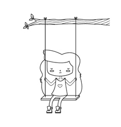 Sad girl on swing vector