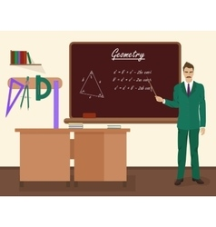 School geometry male teacher in audience class vector