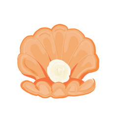 Sea shell with pearl logo isolated vector