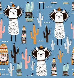 Seamless pattern with llama cactus and hand drawn vector