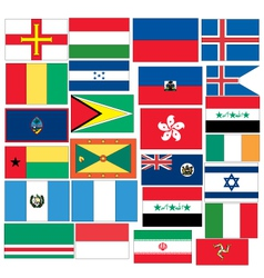 Set of 25 flags with countris started with g h i vector