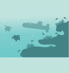 Silhouette of submarine and turtle landscape ocean vector