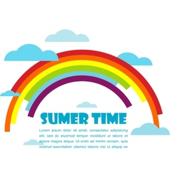 summer time with rainbow and clouds vector image vector image