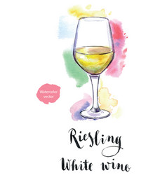 Wineglass of white wine riesling vector