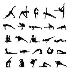 Women silhouettes collection of yoga poses asana vector