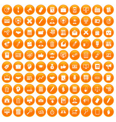 100 finance icons set orange vector