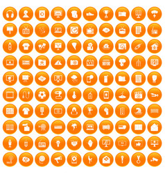 100 tv icons set orange vector