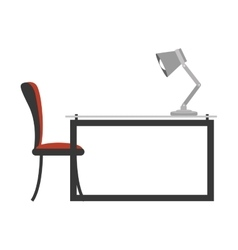 Colorful side view desk with chair and lamp vector
