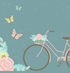 Bike with floral bouquet and butterflies vector