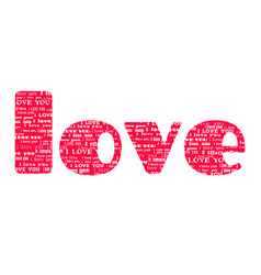 Big pink word love isolated on white background vector